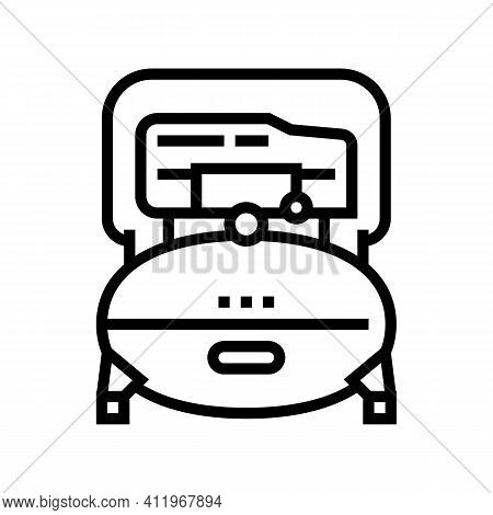 Industry Air Compressor Line Icon Vector. Industry Air Compressor Sign. Isolated Contour Symbol Blac