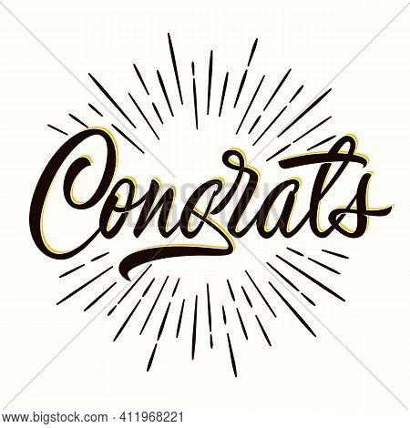 Congrats - Hand Lettering For Congratulations Card, Greeting Card, Invitation Or Print. Isolated Des