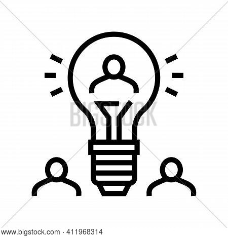 Idea For Search Potential Client And Crowdsoursing Line Icon Vector. Idea For Search Potential Clien