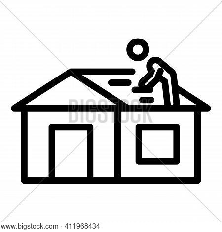 Careless Roof Builder Icon. Outline Careless Roof Builder Vector Icon For Web Design Isolated On Whi