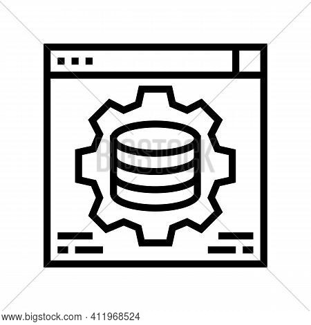Hardware Solution Digital Processing Line Icon Vector. Hardware Solution Digital Processing Sign. Is