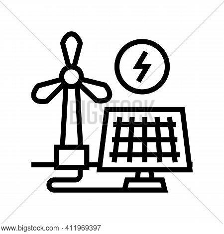 Solar Panel Energy Saving Line Icon Vector. Solar Panel Energy Saving Sign. Isolated Contour Symbol