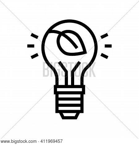 Lightbulb Energy Saving Line Icon Vector. Lightbulb Energy Saving Sign. Isolated Contour Symbol Blac