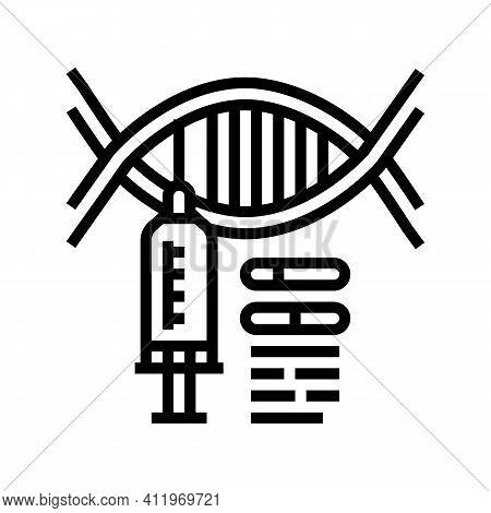 Syringe Molecular Genetic Line Icon Vector. Syringe Molecular Genetic Sign. Isolated Contour Symbol