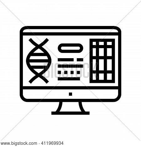 Computer Research Genetic Molecule Line Icon Vector. Computer Research Genetic Molecule Sign. Isolat