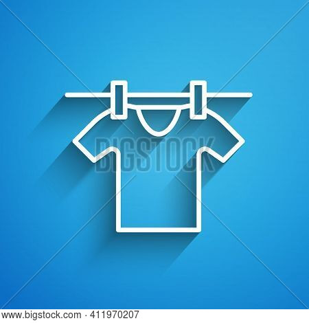 White Line Drying Clothes Icon Isolated On Blue Background. Clean Shirt. Wash Clothes On A Rope With