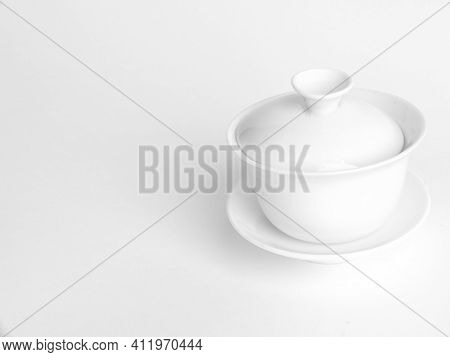 Chinese Porcelain Gaiwan For Tea Ceremony On White Background. Traditional Chinese Tea Ceremony Uten
