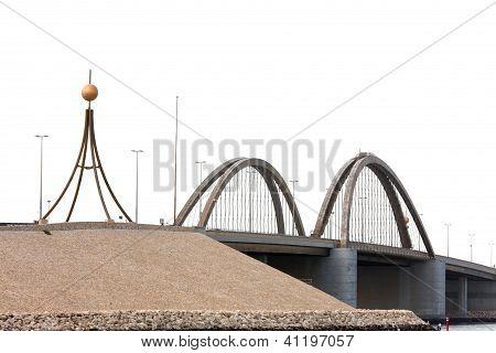 Closeup of the arches of Sheikh Khalifa Bin Salman causeway Bridge