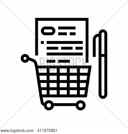 Buying And Signing Agreement Logistics Services Line Icon Vector. Buying And Signing Agreement Logis