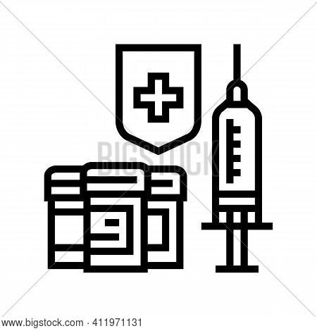 Syringe Medical Treatment And Health Protect Line Icon Vector. Syringe Medical Treatment And Health