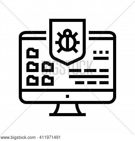 Anti-virus Computer Protect Line Icon Vector. Anti-virus Computer Protect Sign. Isolated Contour Sym