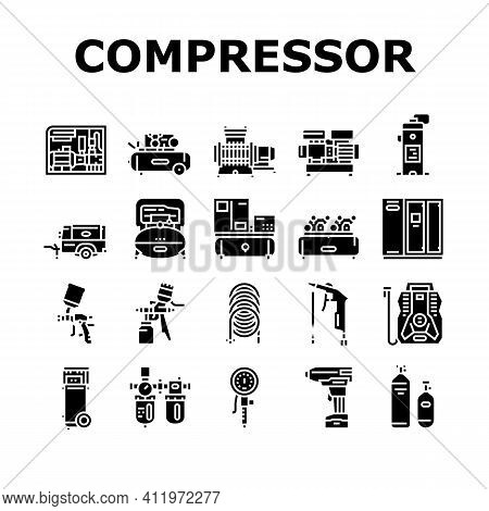 Air Compressor Tool Collection Icons Set Vector. Screw And Piston, Membrane And Centrifugal, Diesel