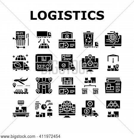 Logistics Business Collection Icons Set Vector. Ship And Airplane Shipment, Eco Delivery Truck And S