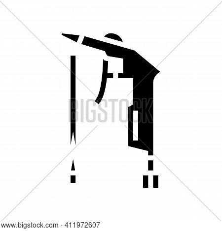 Gun Of Air Compressor Glyph Icon Vector. Gun Of Air Compressor Sign. Isolated Contour Symbol Black I