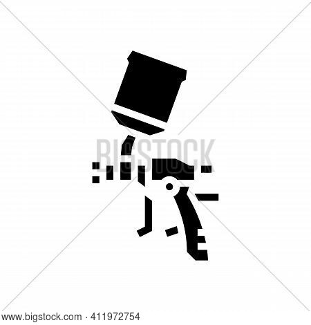 Gun For Painting From Air Compressor Glyph Icon Vector. Gun For Painting From Air Compressor Sign. I