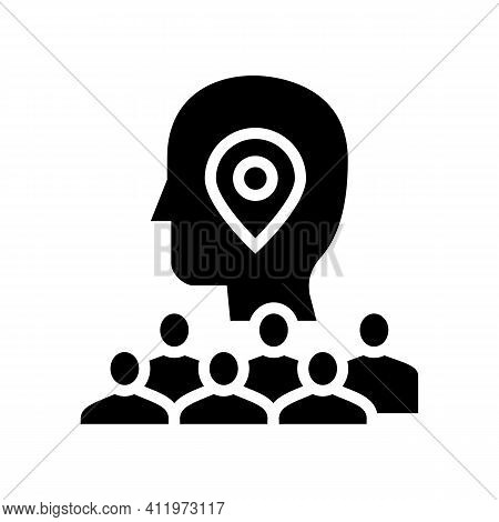 Searching Potential Client Crowdsoursing Service Glyph Icon Vector. Searching Potential Client Crowd