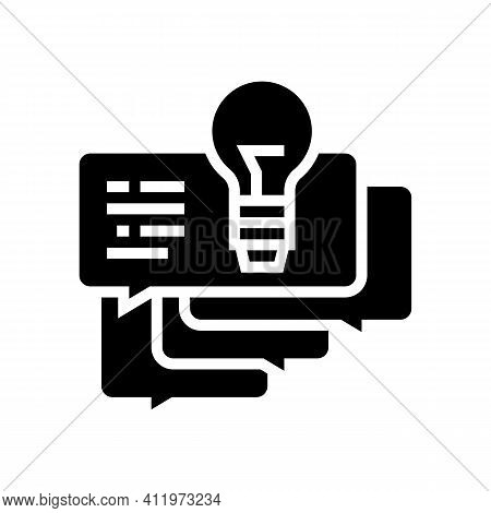Idea For Ask Customers About Service Glyph Icon Vector. Idea For Ask Customers About Service Sign. I