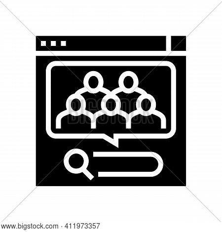 Analytics Of People Requests In Internet Glyph Icon Vector. Analytics Of People Requests In Internet