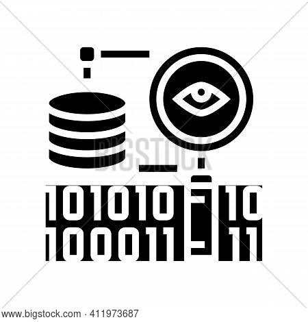Analysis Binary Digital Processing Glyph Icon Vector. Analysis Binary Digital Processing Sign. Isola