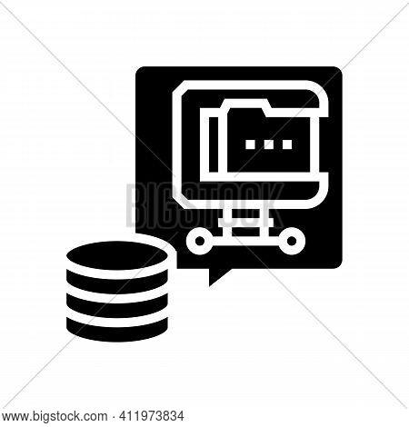 File Compression Digital Processing Glyph Icon Vector. File Compression Digital Processing Sign. Iso