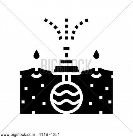 Irrigation System From Drain Glyph Icon Vector. Irrigation System From Drain Sign. Isolated Contour
