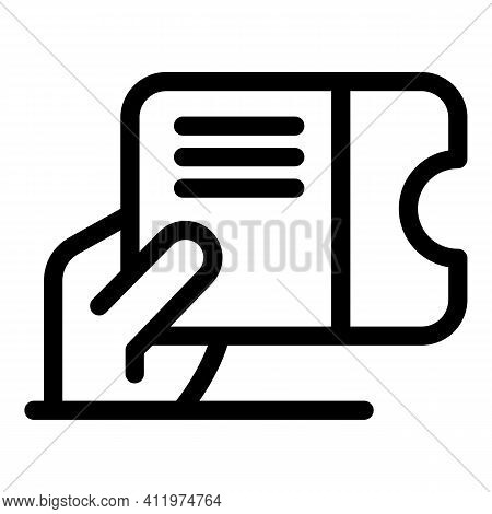 Gift Voucher Icon. Outline Gift Voucher Vector Icon For Web Design Isolated On White Background