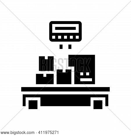 Weight Control Boxes Logistics Glyph Icon Vector. Weight Control Boxes Logistics Sign. Isolated Cont