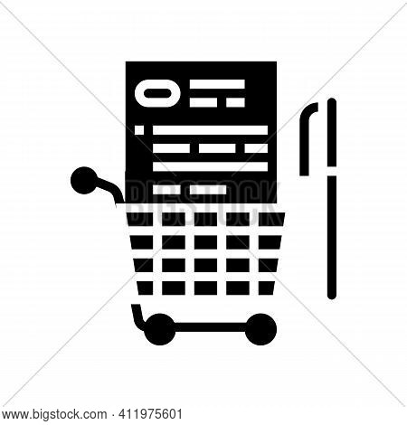 Buying And Signing Agreement Logistics Services Glyph Icon Vector. Buying And Signing Agreement Logi