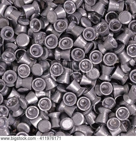 Old And Dirty Metal Pellets For Air Rifle Gun, Full Frame