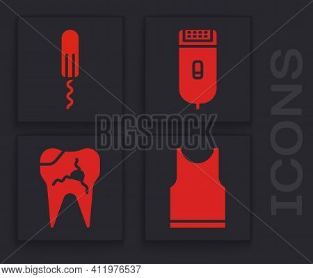 Set Sleeveless T-shirt, Sanitary Tampon, Electrical Hair Clipper Or Shaver And Broken Tooth Icon. Ve