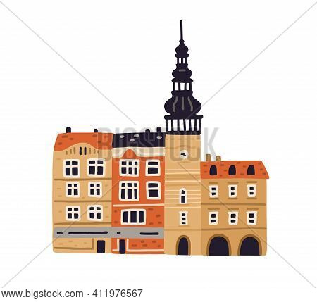 Old City Hall With Clock Tower And Belfries In Ostrava. Famous Czech Building. Colored Flat Vector I
