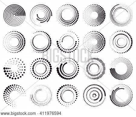 Circle Dotted Speed Lines. Abstract Round Halftone Circle Frames, Rotating Dotted Circle Shapes. Hal