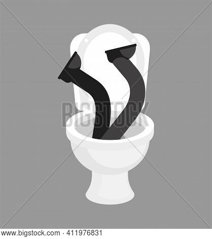 Fall Into Toilet. Man In Toilet. Feet Sticking Out Of Toilet