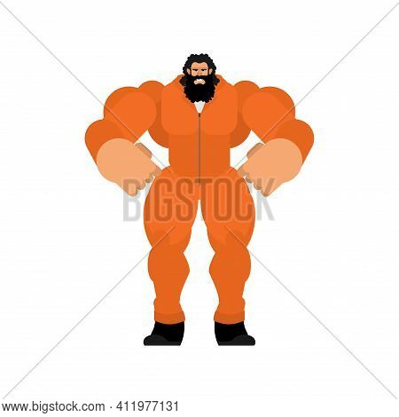 Strong Prisoner In Orange Jumpsuit. Big And Scary Convict. Vector Illustration