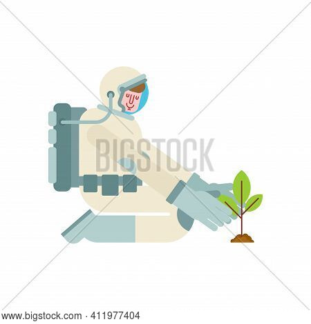 Astronaut Is Planting Tree. Spaceman Planting Plant