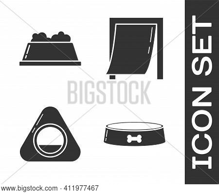 Set Pet Food Bowl, Pet Food Bowl, Pet Bed And Door For Pet Icon. Vector