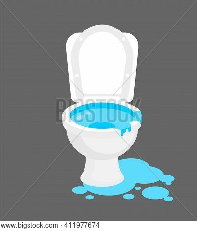 Toilet Was Flooded. Water Is Pouring From Toilet. Clogged Water Supply