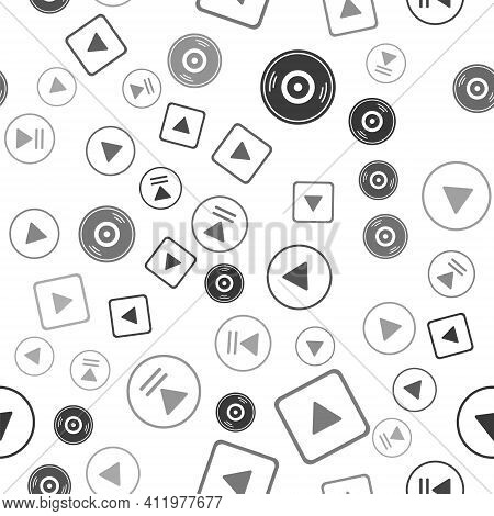 Set Vinyl Disk, Play In Square, Play In Circle And Rewind On Seamless Pattern. Vector