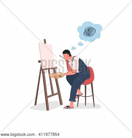 Artist Struggling At Canvas Flat Color Vector Faceless Character. Stressed Painter At Easel. Art Blo