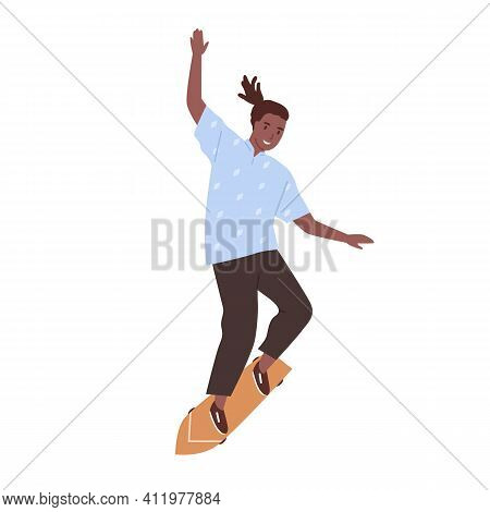 Afro-american Skateboarder Performing Trick On Skateboard. Young Skater Standing On Long Board. Tren