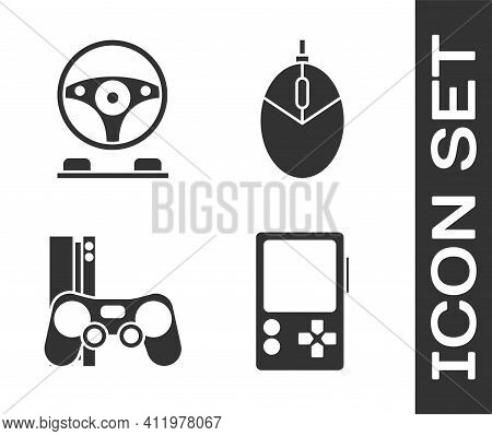 Set Portable Video Game Console, Racing Simulator Cockpit, Game Console With Joystick And Computer M