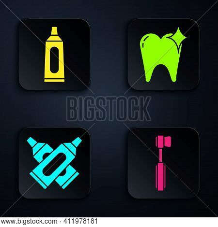 Set Toothbrush, Tube Of Toothpaste, Crossed Tube Of Toothpaste And Tooth Whitening Concept. Black Sq