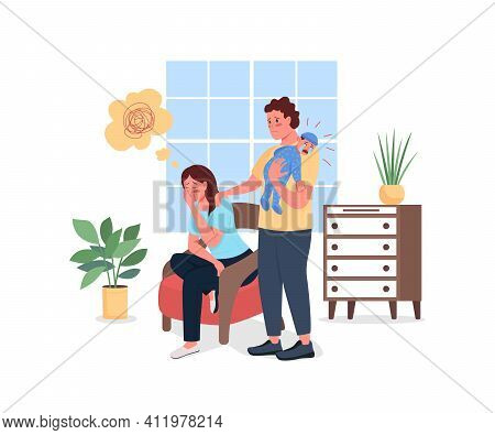 Depressed Mother With Husband And Baby Flat Color Vector Detailed Characters. Post Natal Problem. Po