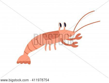 Cute Red Crayfish Or Crawfish With Funny Eyes And Claws. Sea Animal With Pincers Isolated On White B