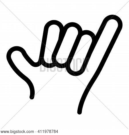 Hand Gesture Hang Loose Icon. Outline Hand Gesture Hang Loose Vector Icon For Web Design Isolated On