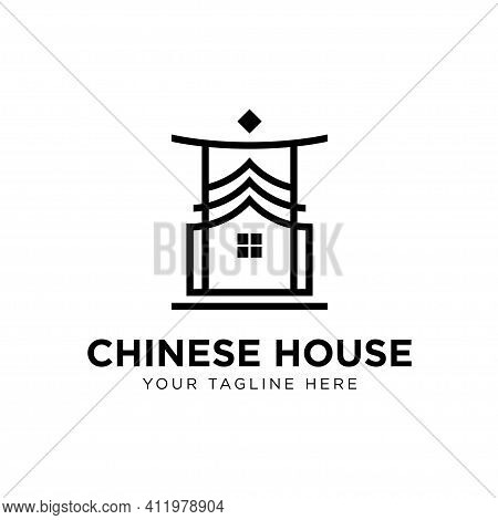 Illustration Chinese House Logo Concept Design Template