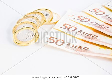 Crisis Of Eurozone, Euro Coins On 50-euro Banknotes
