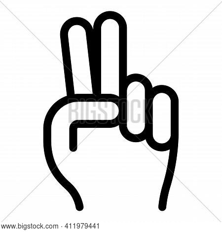 Hand Gesture Two Minutes Icon. Outline Hand Gesture Two Minutes Vector Icon For Web Design Isolated