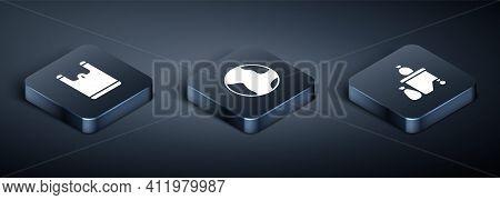 Set Isometric Plastic Bag, Full Dustbin And Earth Globe Icon. Vector