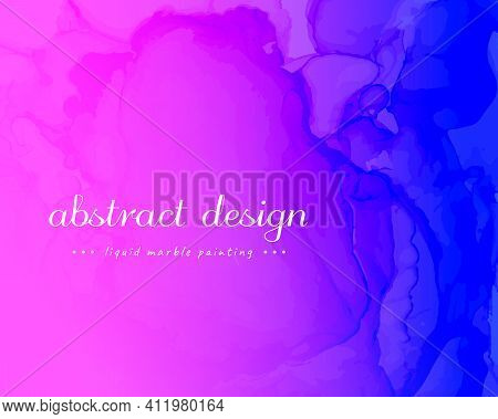 Abstract Fluid. Blue Pink Dynamic Motion. Creative Liquid Pattern. Alcohol Inks Paint Background. Mo